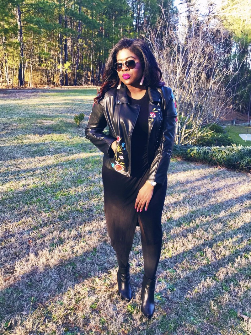 The Artsy Leather Moto Lbd Prissy With Pearls